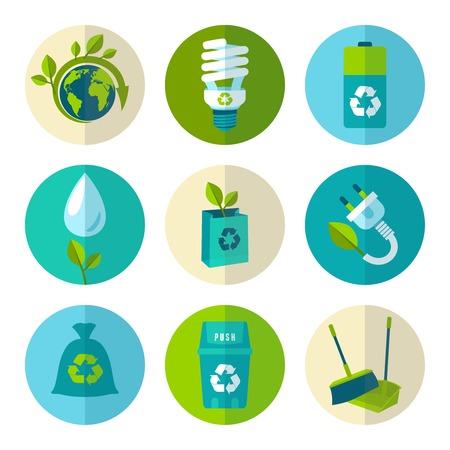 Ecologie en afval vlakke pictogrammen instellen van behoud vuilnis recycling geïsoleerd vector illustratie.