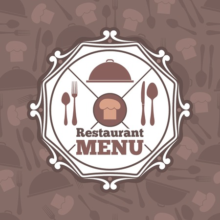 Restaurant menu template with chef hat and flatware icons vector illustration Vector