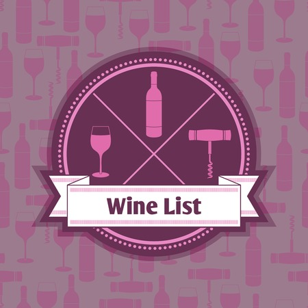Restaurant wine list menu template with bottle glass and corkscrew badge and background vector illustration Vector
