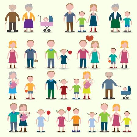 Familie cijfers iconen set van ouders kinderen paar geïsoleerde vector illustratie
