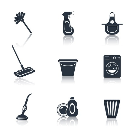 Cleaning washing housework black icons set of mop vacuum cleaner bucket isolated vector illustration Çizim