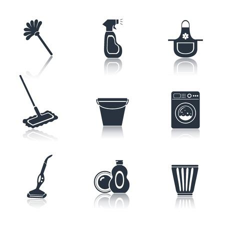 Reiniging wassen huishouden zwarte iconen set van geïsoleerde mop stofzuiger emmer vector illustratie