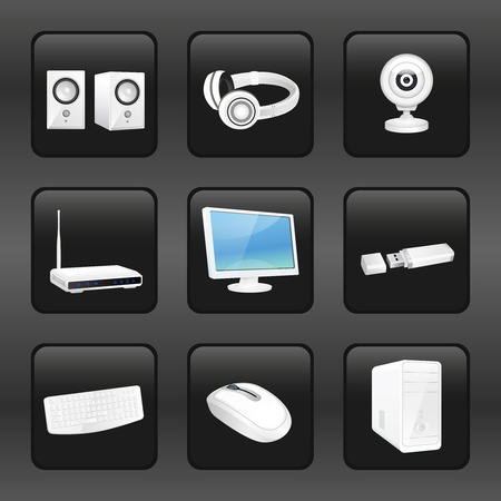 electronics parts: Computer and accessories icons set of headphones camera router isolated vector illustration. Illustration