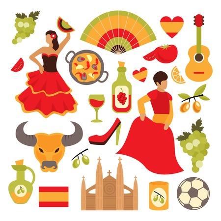 Ícones de atrações turísticas viagem Espanha definir ilustração vetorial isolado