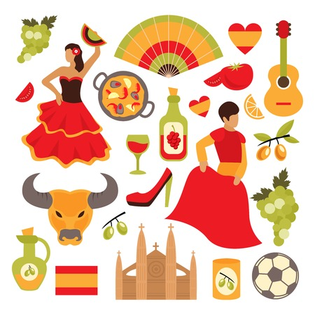 spanish bull: Spain travel tourist attractions icons set isolated vector illustration Illustration