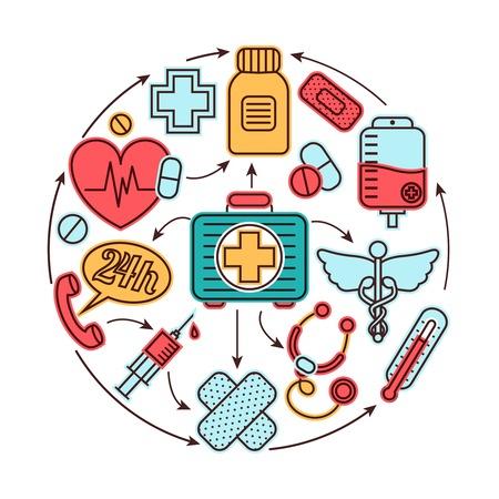 医療緊急時の応急医療アイコン セット医学概念ベクトル イラスト