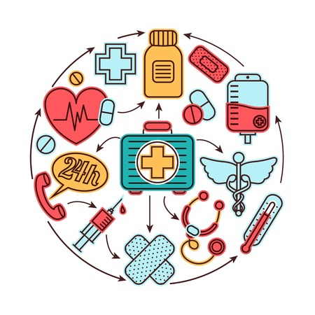 Iconos de salud de primeros auxilios de emergencia médica de medicina conjunto concepto de ilustración vectorial