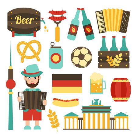 Viajes Alemania atracciones turísticas comida y cerveza iconos conjunto aislado ilustración vectorial Foto de archivo - 31011469