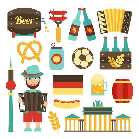 comida alemana: Viajes Alemania atracciones turísticas comida y cerveza iconos conjunto aislado ilustración vectorial