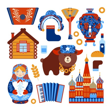 Russia travel set with vintage national elements icons set isolated vector illustration Vector