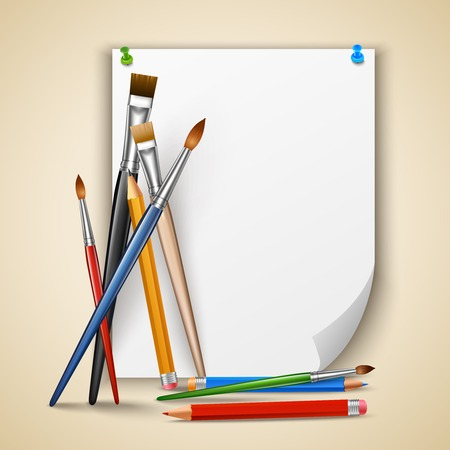 Art color paintbrushes and pencils with sheet of paper vector illustration