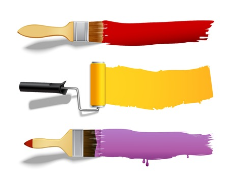 dyed: Paint brushes and rollers color banners set isolated vector illustration