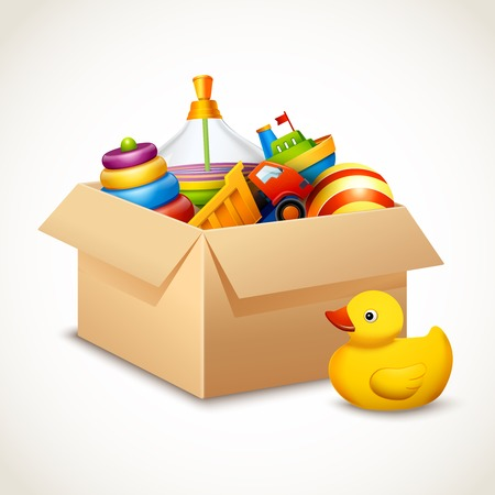 background box: Decorative children toys set in open paper box isolated on white background vector illustration Illustration