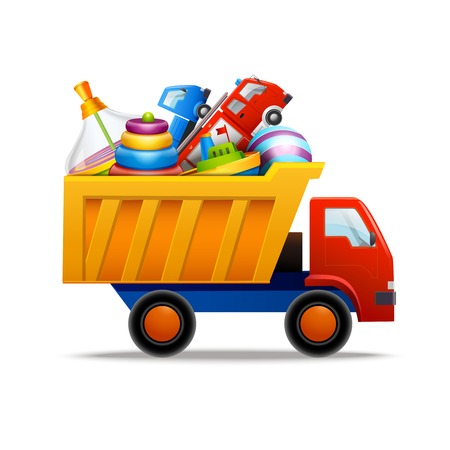Decorative children toys set in plastic truck isolated on white background vector illustration Vector