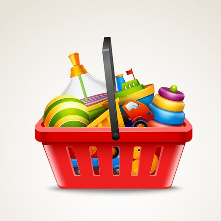Decorative children toys set in plastic red shopping basket isolated on white background vector illustration Vector