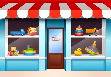 kid shopping: Plastic children toys set on shop window shelf vector illustration