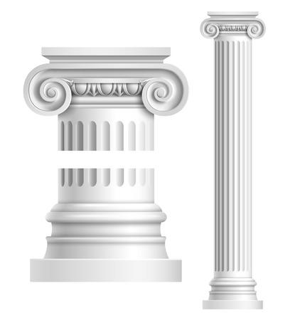 templo romano: Realista columna iónica antiguo aislado sobre fondo blanco ilustración vectorial