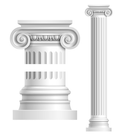 greek column: Realistic antique ionic column isolated on white background vector illustration