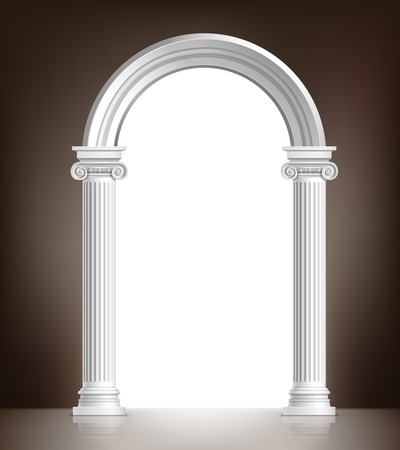 columns: Realistic antique ionic column marble arch background vector illustration