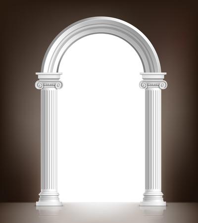 zuilen: Realistische antieke Ionische kolom marmer boog achtergrond vector illustratie Stock Illustratie