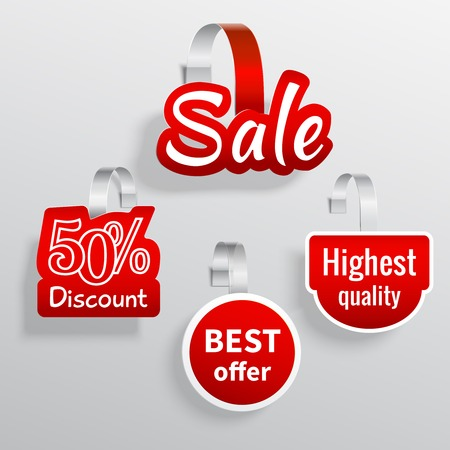 red shape: Red color sale discount promotion wobbler set isolated vector illustration