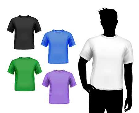 Colored round neck t-shirts male set with man silhouette isolated vector illustration Иллюстрация