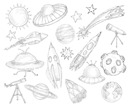 Space and astronomy decorative elements sketch set isolated vector illustration Vector