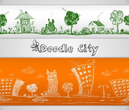 City doodle modern and old urban buildings seamless border vector illustration Vector