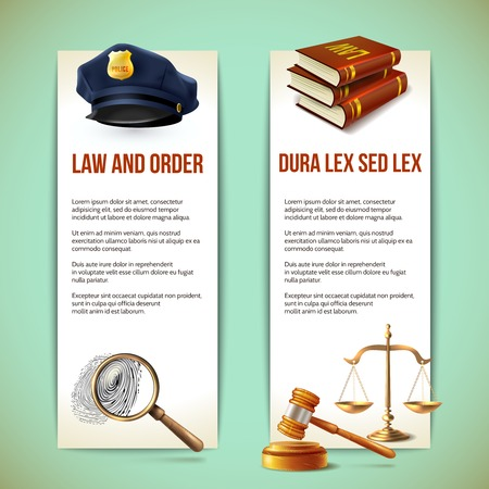 prosecution: Law and order police criminal and prosecution vertical banners vector illustration