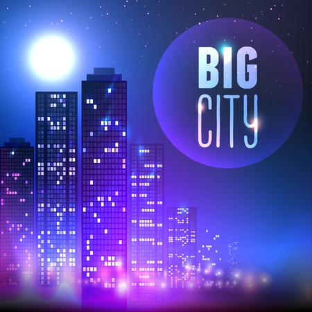 city scape: City skyline with skyscraper buildings at full moon night on purple background vector illustration.