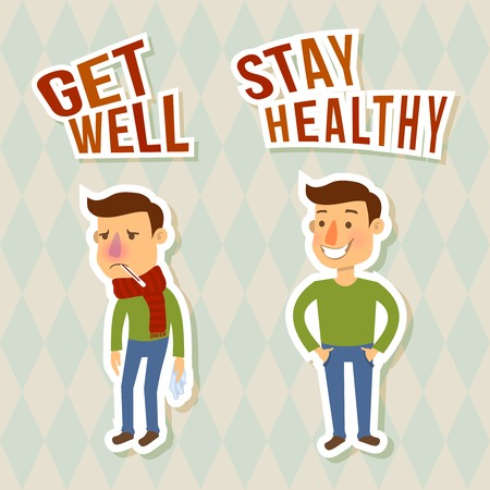influenza: Sick and healthy man sticker characters isolated vector illustration
