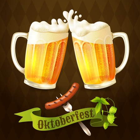 Glass mug of light beer with sausage and hop branch Oktoberfest poster vector illustration. Иллюстрация