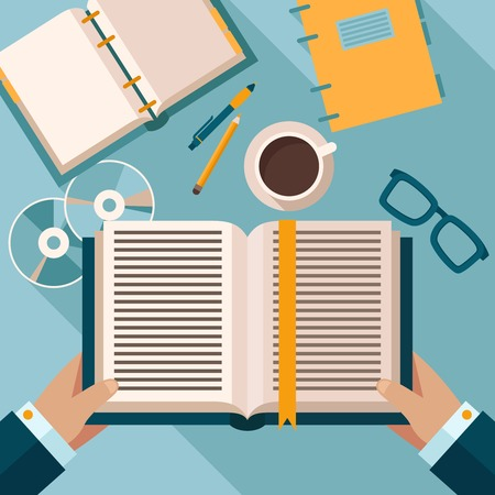 office desktop: Person reading the book on office desktop with notebook coffee cup and glasses vector illustration