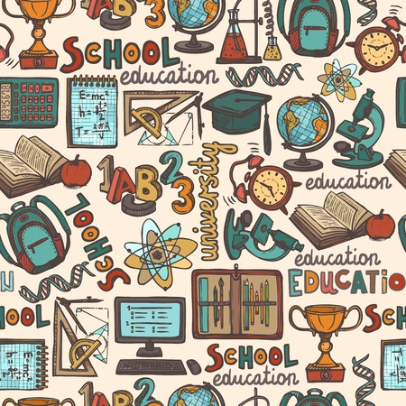 Retro school and university education colored sketch seamless pattern vector illustration Vector