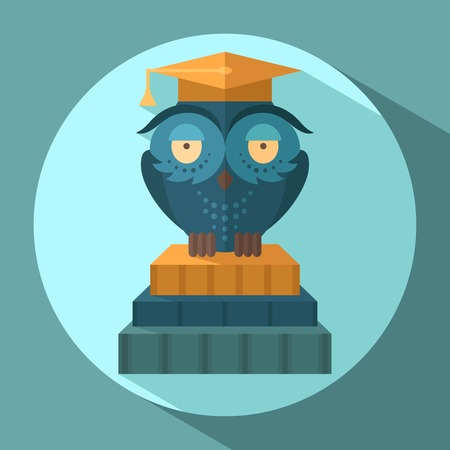 Blue owl in graduation cap sitting on books flat vector illustration Vector