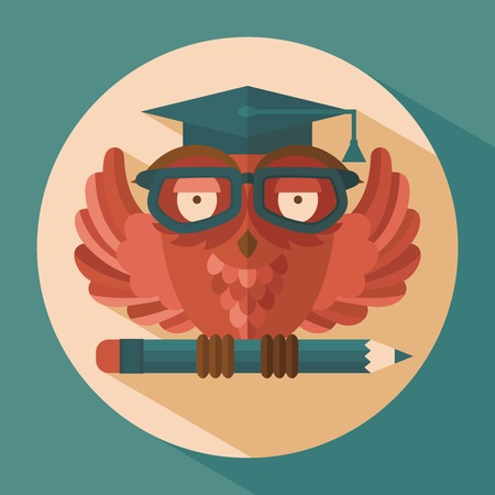 Red owl in graduation cap holding pencil flat vector illustration Vector