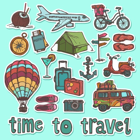 Travel holiday vacation sketch stickers set of passport bike slippers isolated vector illustration Illustration
