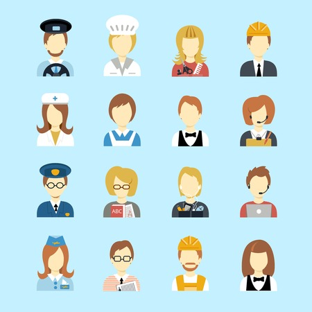 cartoon hairdresser: Set of occupations profession peoples avatar in flat color style vector illustration