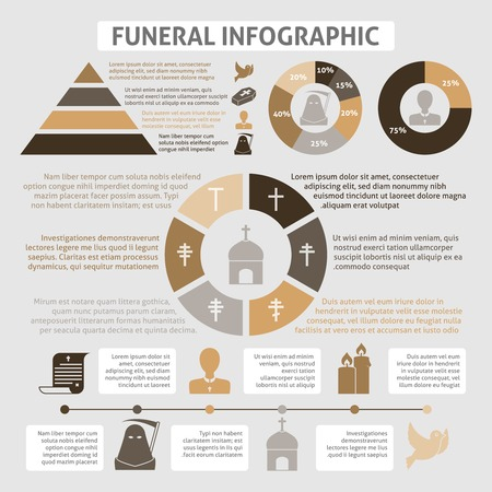 hearse: Funeral homes undertaking ceremonial service development infographics diagrams report table with chistian church burial symbols vector illustration