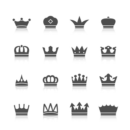 Decorative prince princess king type crowns tattoo authority and supremacy symbols collection black abstract isolated vector illustration Vector