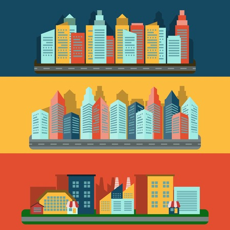 edifice: Decorative horizontal flat banners set of residential edifice and industrial complex cityscape skyline abstract isolated vector illustration