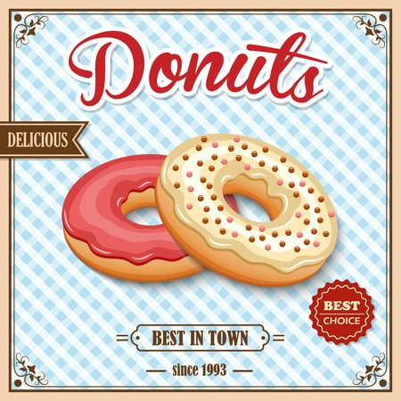 town square: Tasty baked delicious donut dessert best in town on cafe retro poster vector illustration Illustration