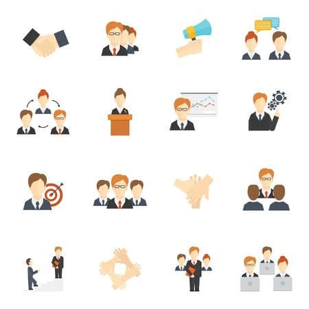 jobs people: Teamwork corporate organization icons flat icons set isolated vector illustration