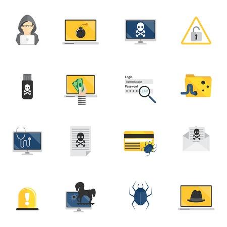 computer hacker: Hacker e di sicurezza del computer le icone piane set isolato illustrazione vettoriale