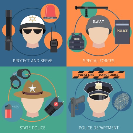 special forces: Police protect and serve special forces flat set isolated vector illustration Illustration