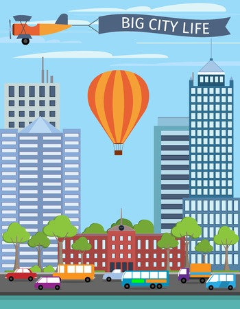urban building: Modern urban building big city life poster with balloon vector illustration Illustration