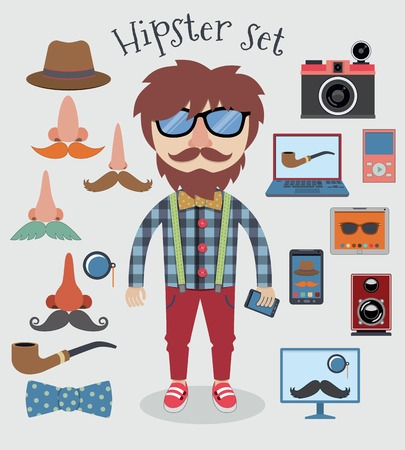 Hipster character pack design elements for boy isolated vector illustration Vector