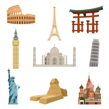 statue of liberty: World famous landmarks set of eiffel tower statue of liberty taj mahal isolated vector illustration