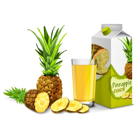 Realistic pineapple juice glass with cocktail straw and paper pack isolated on white background  Vector