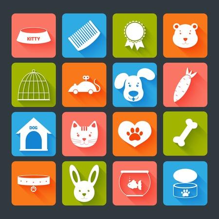 Huisdieren pictogrammen instellen flat met geïsoleerd dierlijk voedsel speelgoed illustratie